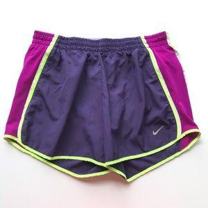 """Nike Dri Fit 4"""" Running Shorts Purple/Neon Yellow"""